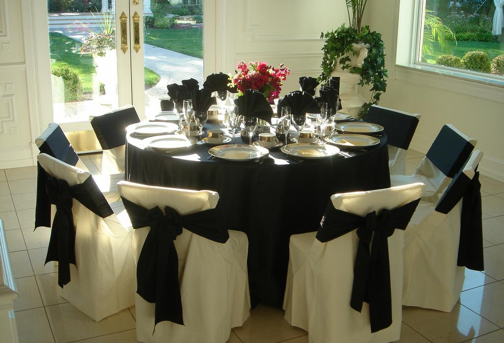 black satin table linen from Chair Covers by Sylwia in Willow