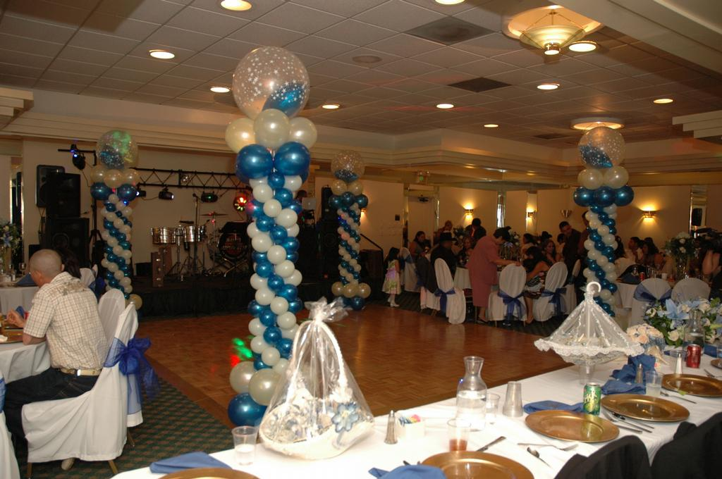 Blue White Tower provided by AGA Party Wedding Decoration Los Angeles