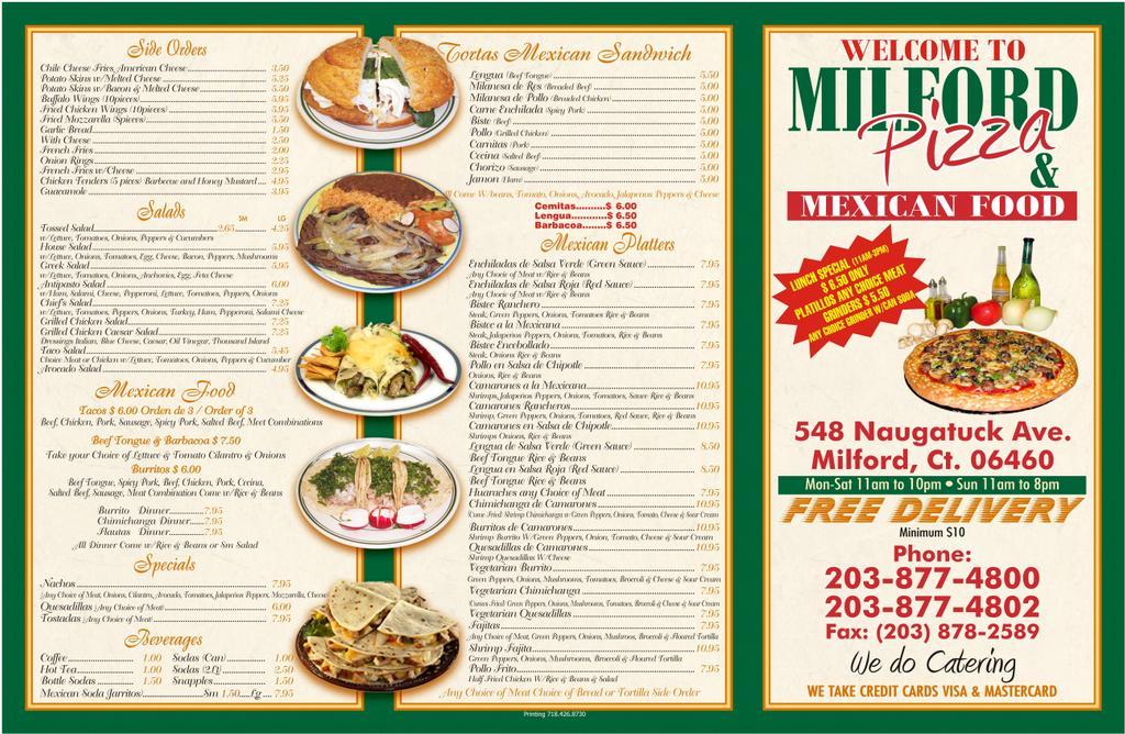Milford Pizza Mexican Food Menu