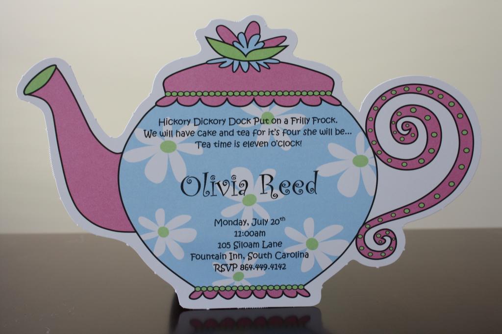 Tea Pot Birthday Invitation From Salutations Soirees In