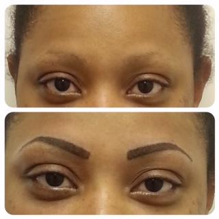 permanent powder filled eyebrow tattoo by houston wellness