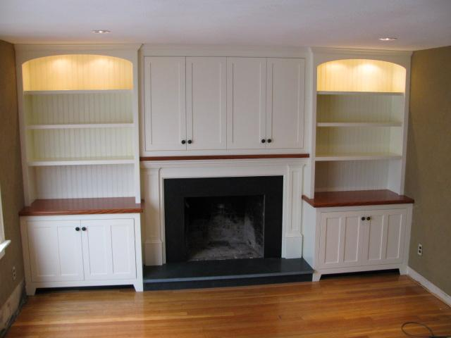built in cabinetry and fireplace from creative wood
