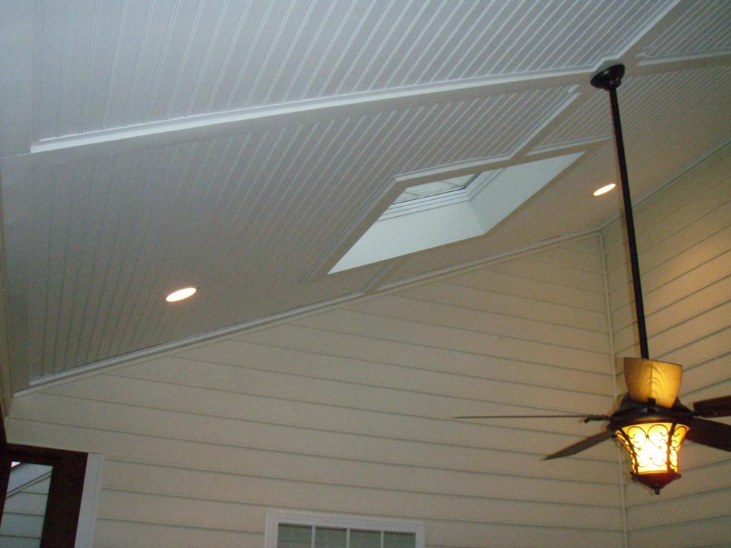 Vinyl beadbord screen porch ceiling from curtis for Balcony ceiling