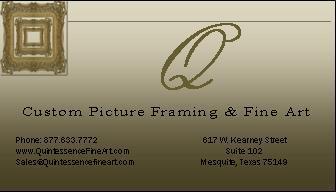 Q Business Card Jpg By Quintessence Custom Framing Fine Art