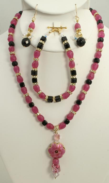 Contessa pink/black necklace by Rose of Sharon Jewelry