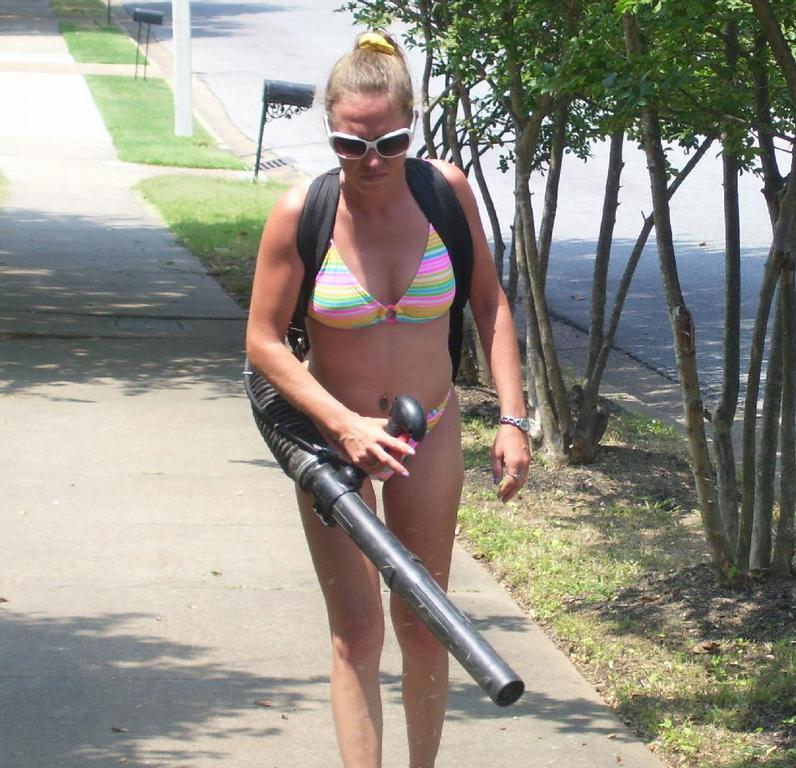 bikini lawn mowing
