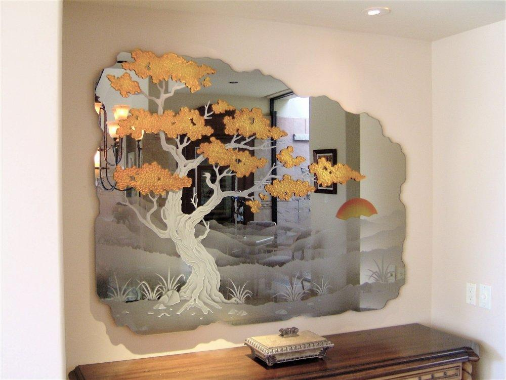 Etched Decorative Mirror Wall Mural Cypress Tree Jpg From