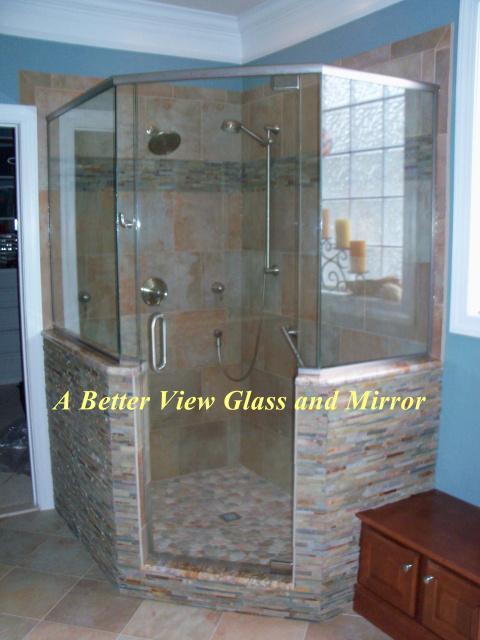 Neo Angle Shower Doors Glass Frameless 480 x 640