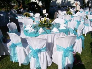 Aquamarine blue motifs table settings