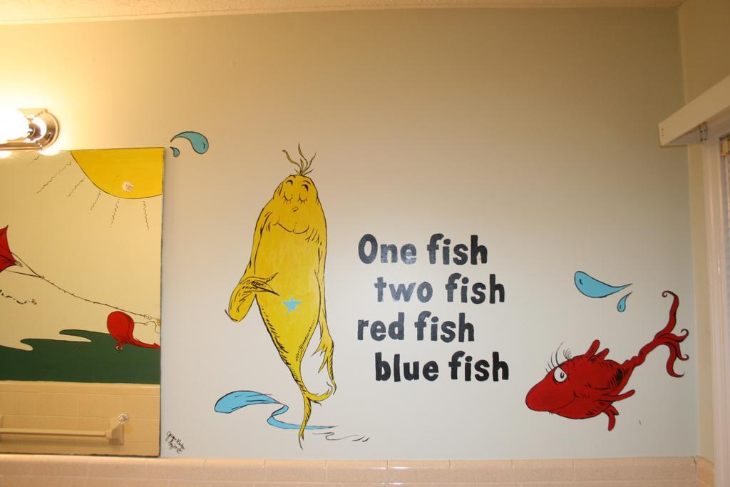 Dr seuss mural in children 39 s school from goose and gander for Dr seuss mural
