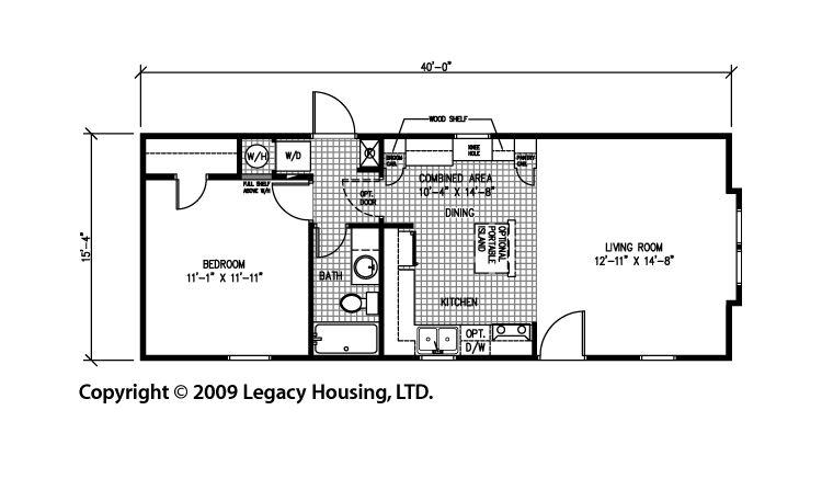 Legacy 1644 11 FLA 1 Bedroom Log Cabin Style Mobile Home