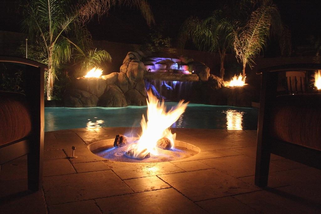Backyard With Pool And Firepit : Firepit, Waterfalls & Swimming Pools by Unique Custom Pools, LLC
