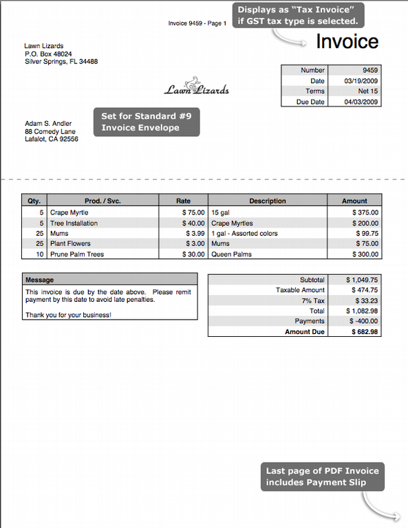 Simple Invoice Template Free To Do List Free Billing Invoice - Lawn service invoice template free