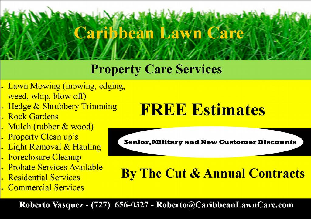 Carib flyer from caribbean lawn care in clearwater for Garden lawn care service