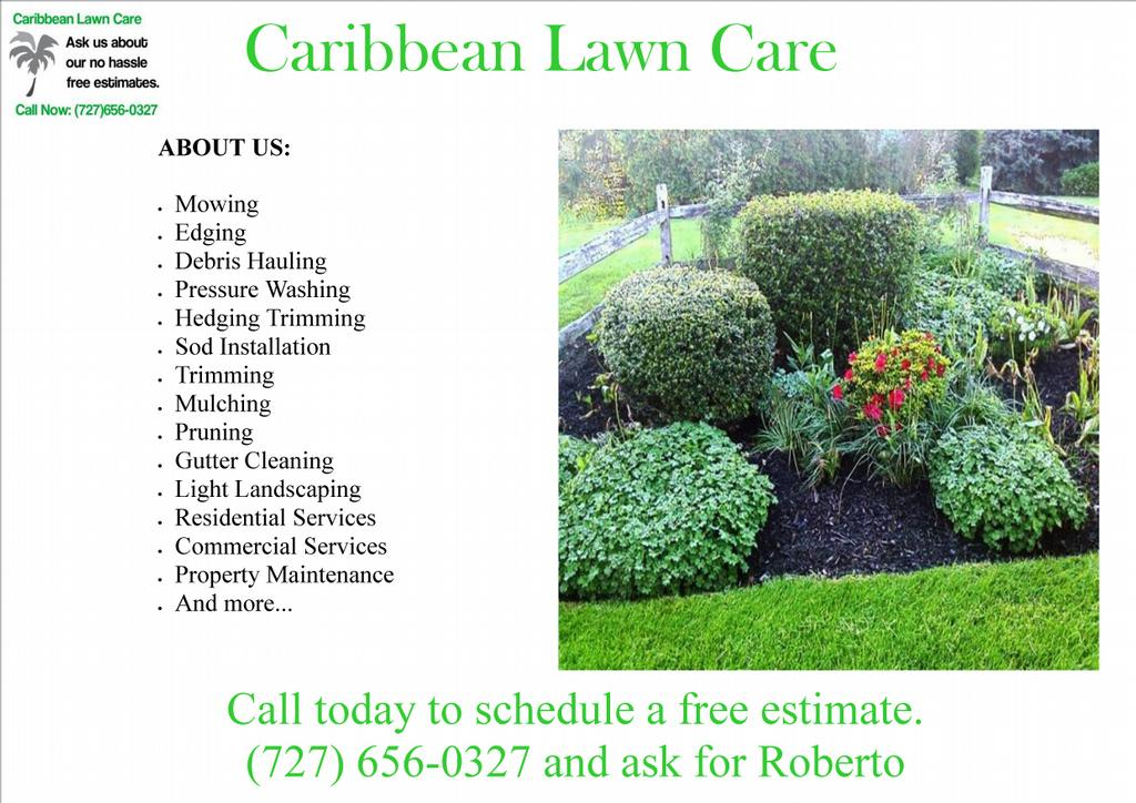 Carib flyer from caribbean lawn care in clearwater fl 33760 for Garden lawn care service