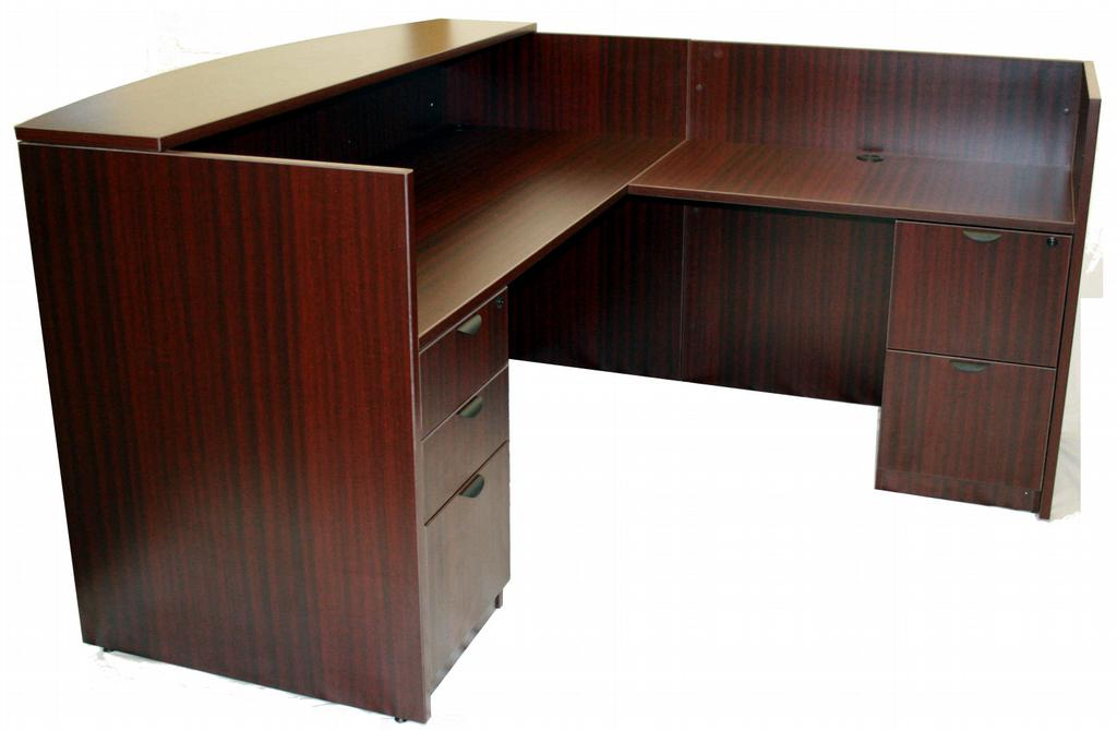 Reception desk side view from better office furniture in saint charles
