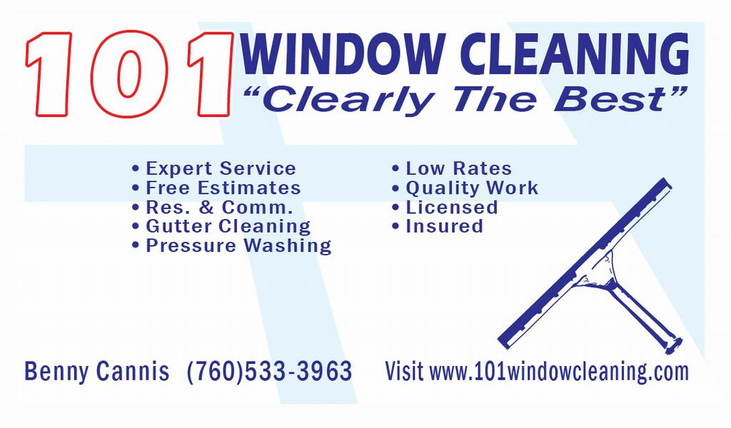 101 window cleaning encinitas ca 92024 760 533 3963 for Window cleaning business cards