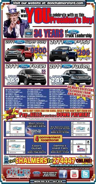 President's Day Sale Special – Don Chalmers Ford Rio ...