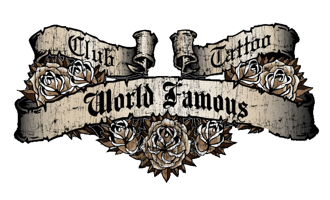 World famous men 39 s t shirt from club tattoo mesa tattoo for Club tattoo mesa