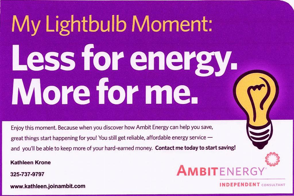 Bulb moment 1 by kathleen krone independent consultant of ambit energy