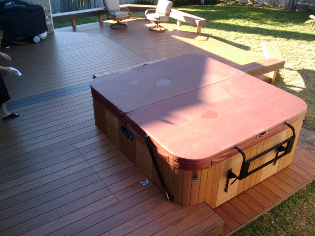 Built In Hot Tub Within Timbertech Floorizon Deck From