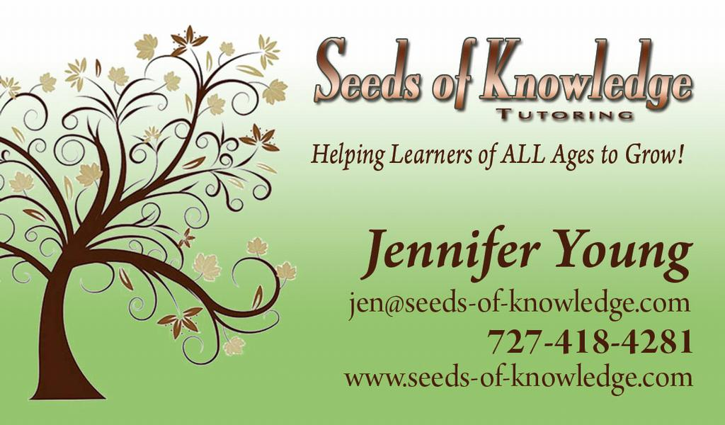 business card from Seeds of Knowledge Tutoring in Palm Harbor, FL 34683