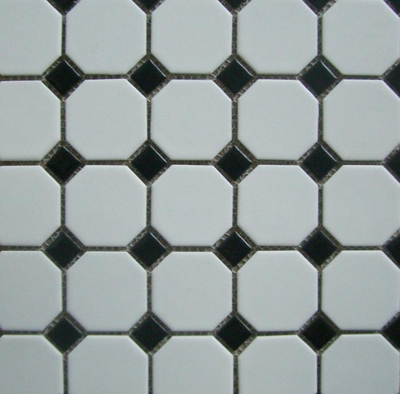 Octagon Tile Mosaic 2 Quot White W Black Dot From Classic