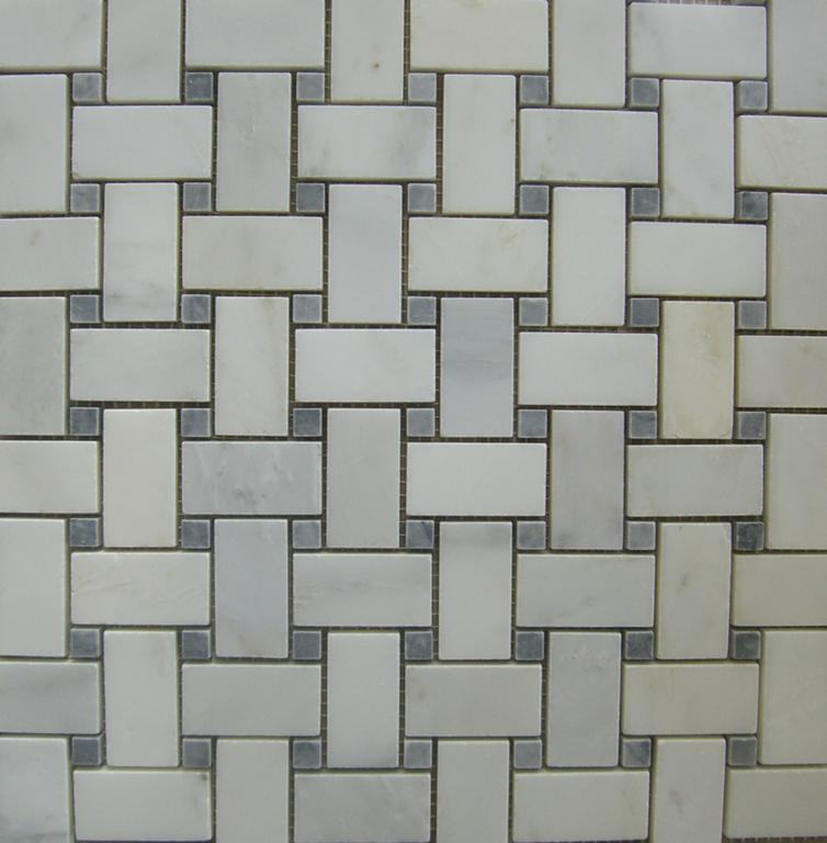 Basket Weave White Carrara Marble W Grey Dot Polished