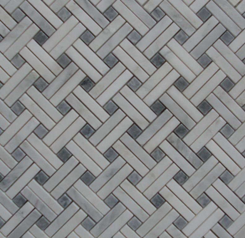 Slant Basket Weave Mosaic White Carrara Marble With Grey