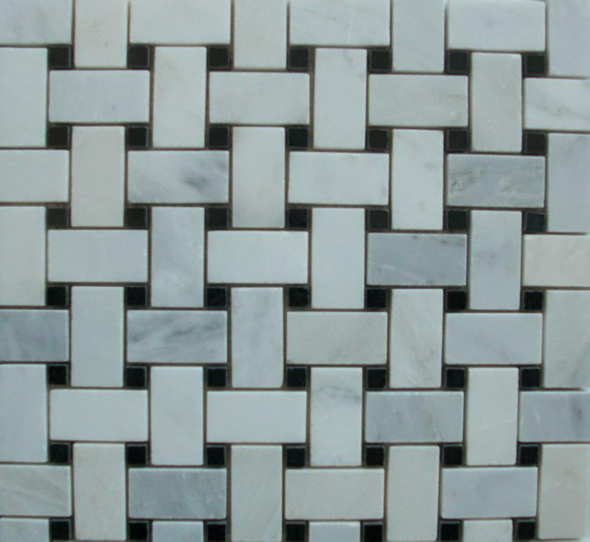 Basketweave Mosaic White Carrara Marble With Black Dot