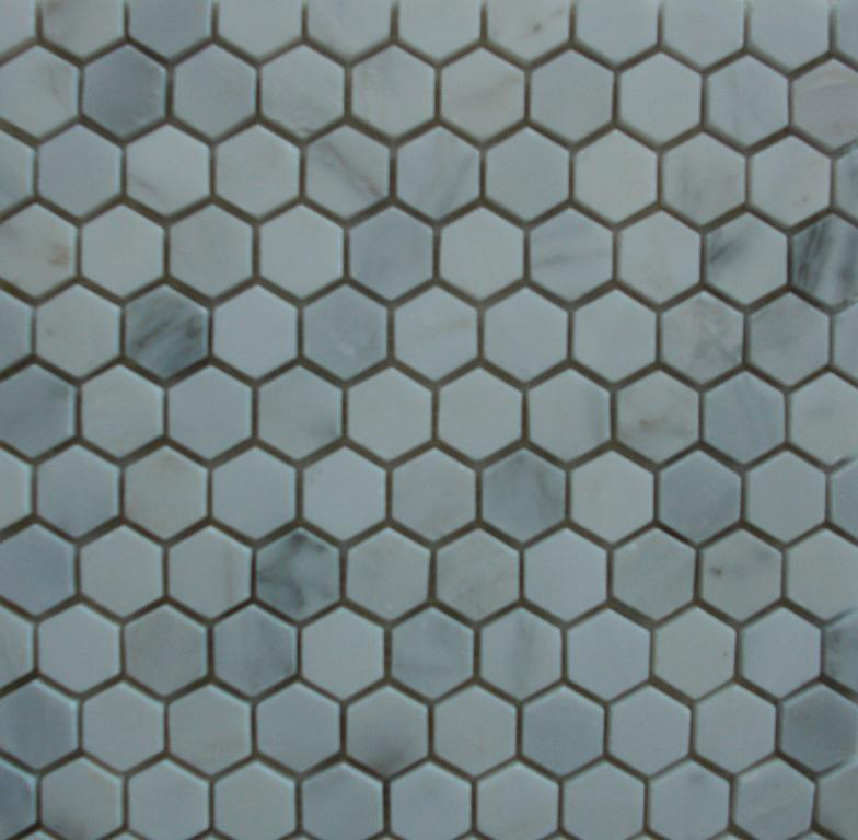 Hexagon Tile Mosaic White Carrara 1 Inch Polished From Classic Tile