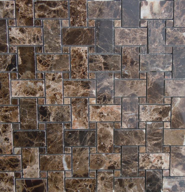 Dark Emperador Brown Marble Basketweave Tile From Classic
