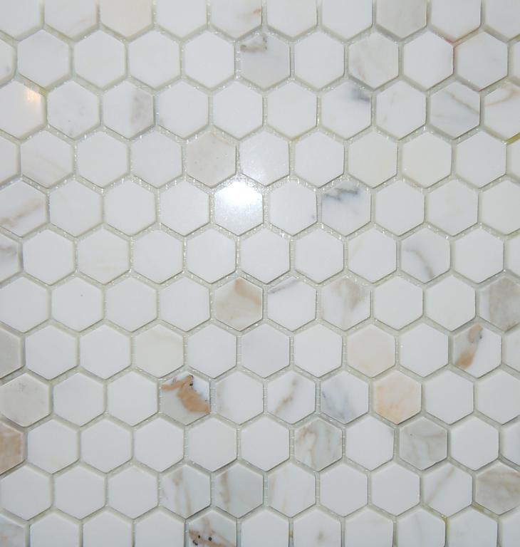 1 Inch Hexagon Calacatta Gold Oro Marble Mosaic Tile From