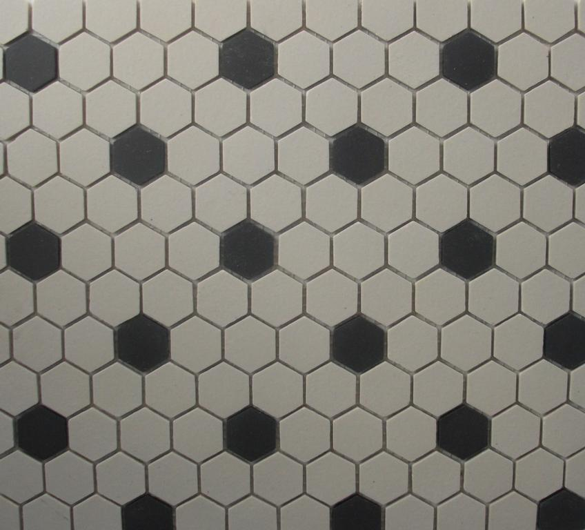 Hexagon Tile White Black Unglazed 1 Inch Mosaic Old World From Classic