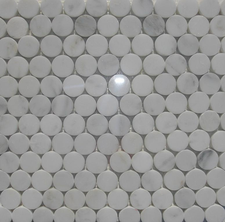 Marble Penny Round Tile White Carrara 1 Inch From Classic