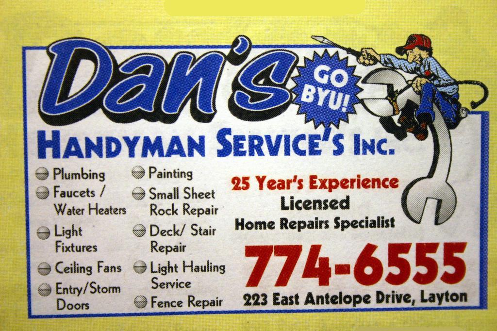 Dans Handyman Services - Layton UT 84041   801-774-6555