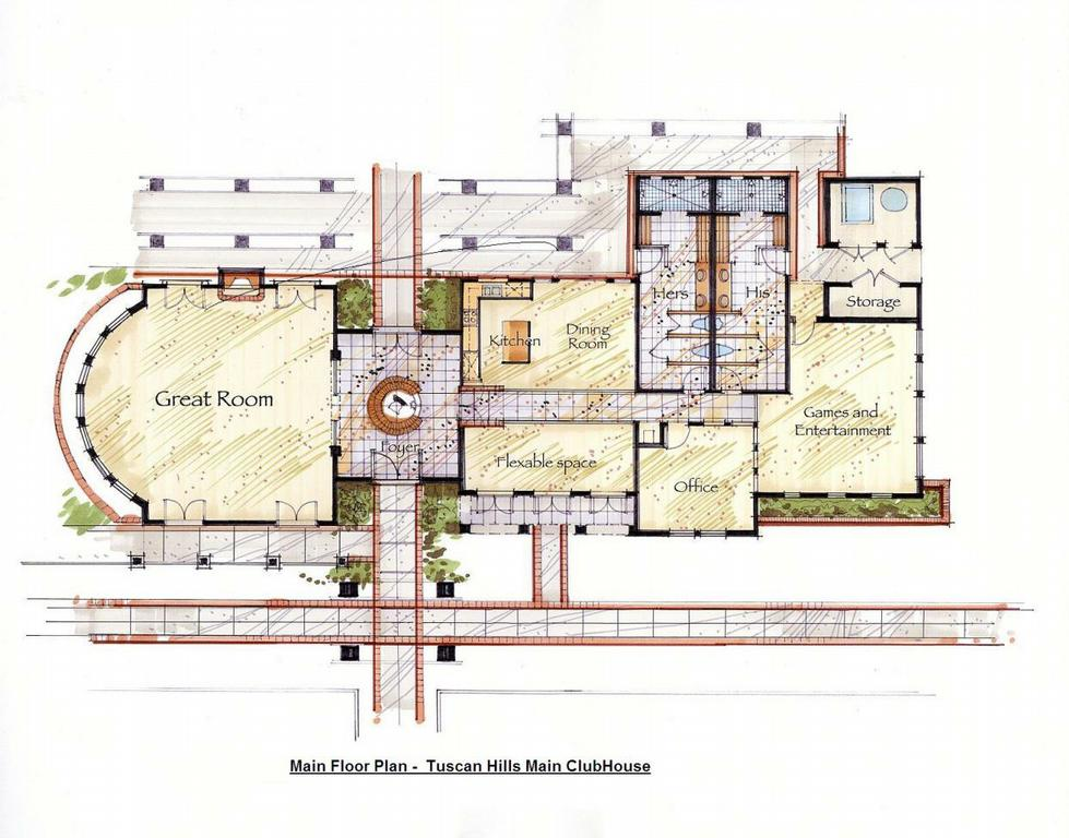 A2 tuscan hills clubhouse main floor plan from tommasini for Clubhouse floor plans