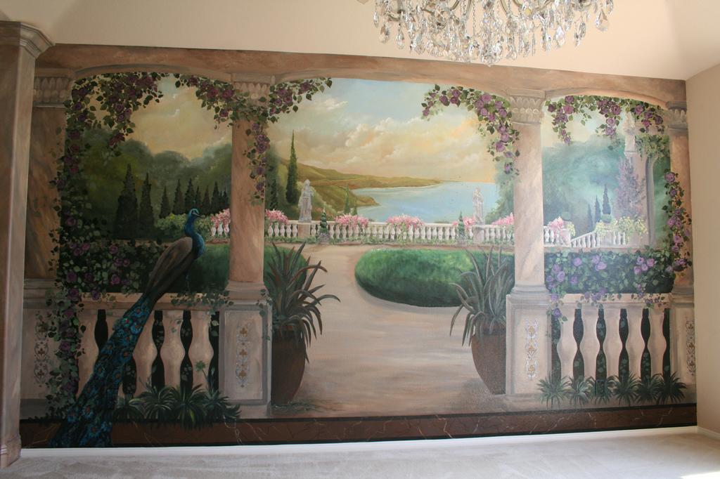 trompe l 39 oeil landscape from artistic mural works in san antonio tx 78258. Black Bedroom Furniture Sets. Home Design Ideas