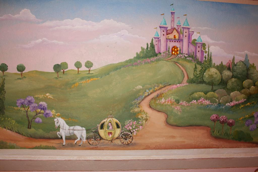 Children princess castle mural from artistic mural works for Castle mural kids room