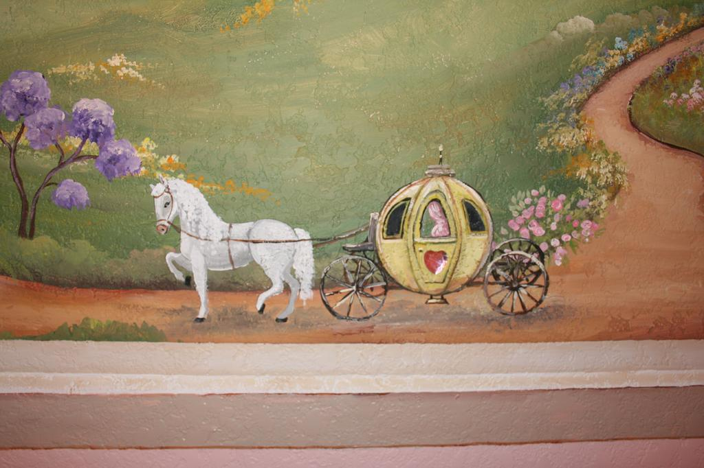 Children princess horse carriage from artistic mural works for Artistic mural works