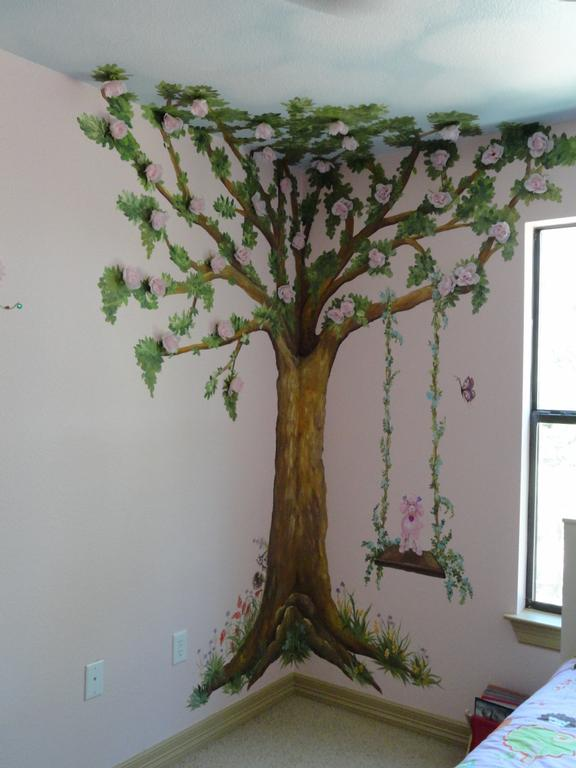 Children tree bedroom from artistic mural works san for Children s room mural