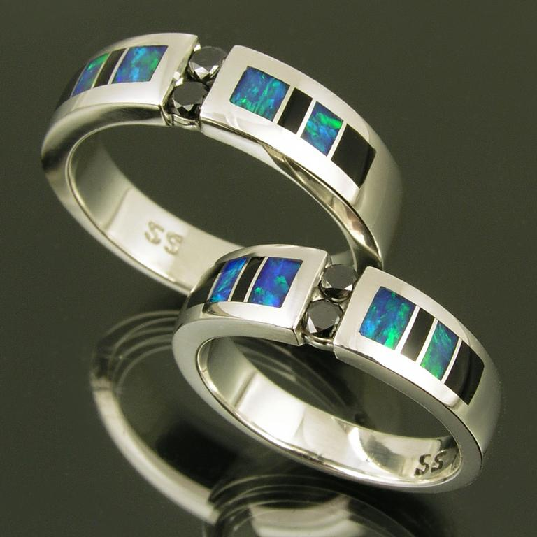 Australian opal and black onyx inlay wedding ring set with black ...
