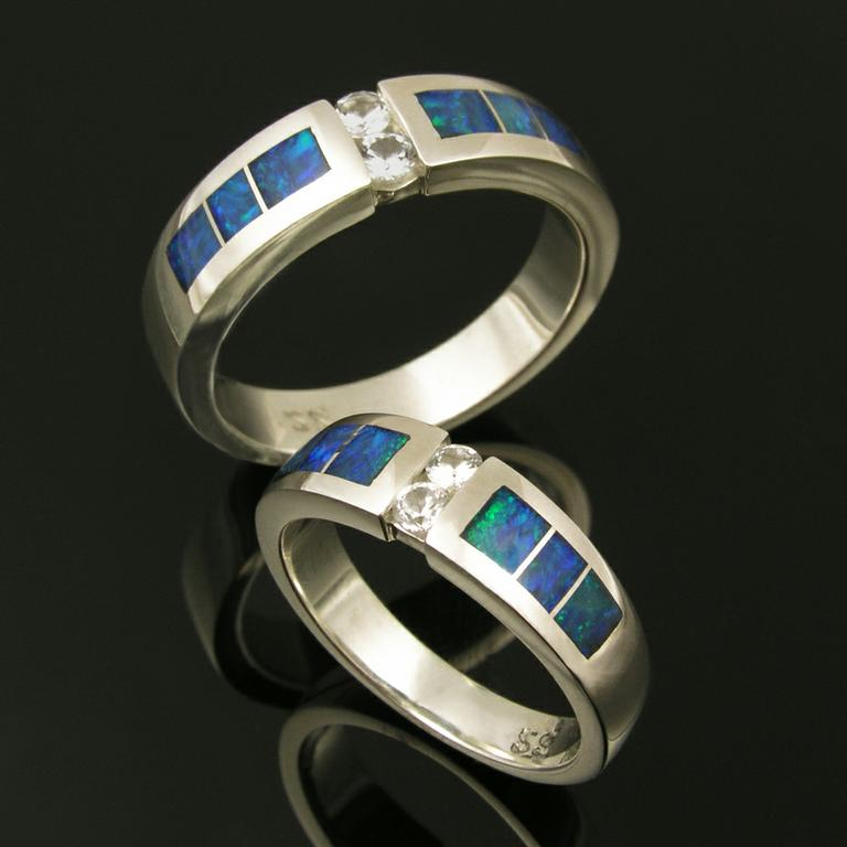 Australian opal inlay his and her sterling silver wedding set accented by whi