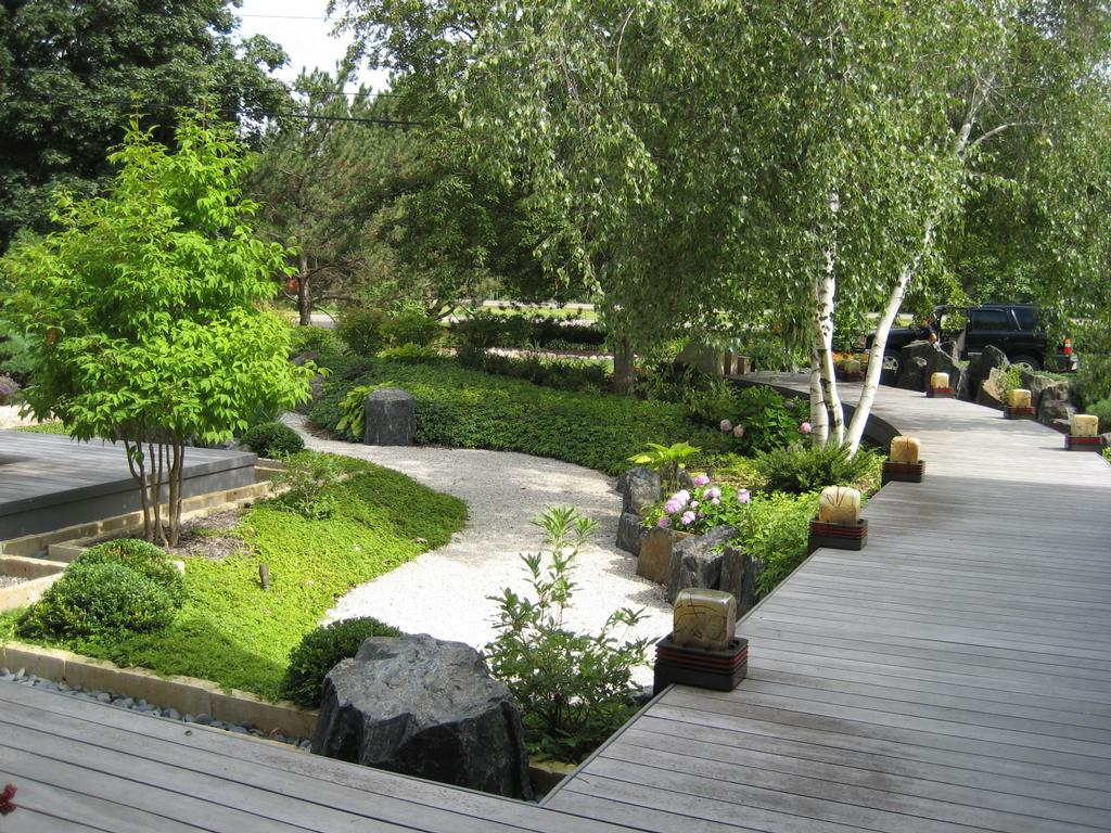 Japanese garden with dry pond from niwa design studio ltd for Japanese decking garden
