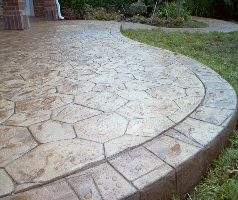 Stamped Concrete Patio : Deck and stamped concrete patio easy home decorating ideas
