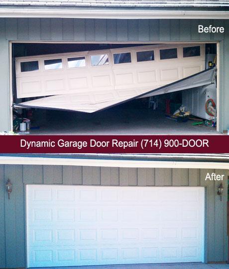 Wrecked Garage Door In Fullerton, CA By Dynamic Garage Door Repair | Custom Garage  Door