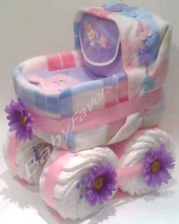 Baby Carriage Diaper Cake, baby shower centerpieces from Baby