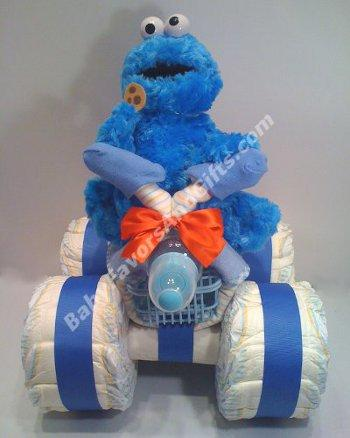 Cookie Monster Baby Shower Diaper Cake