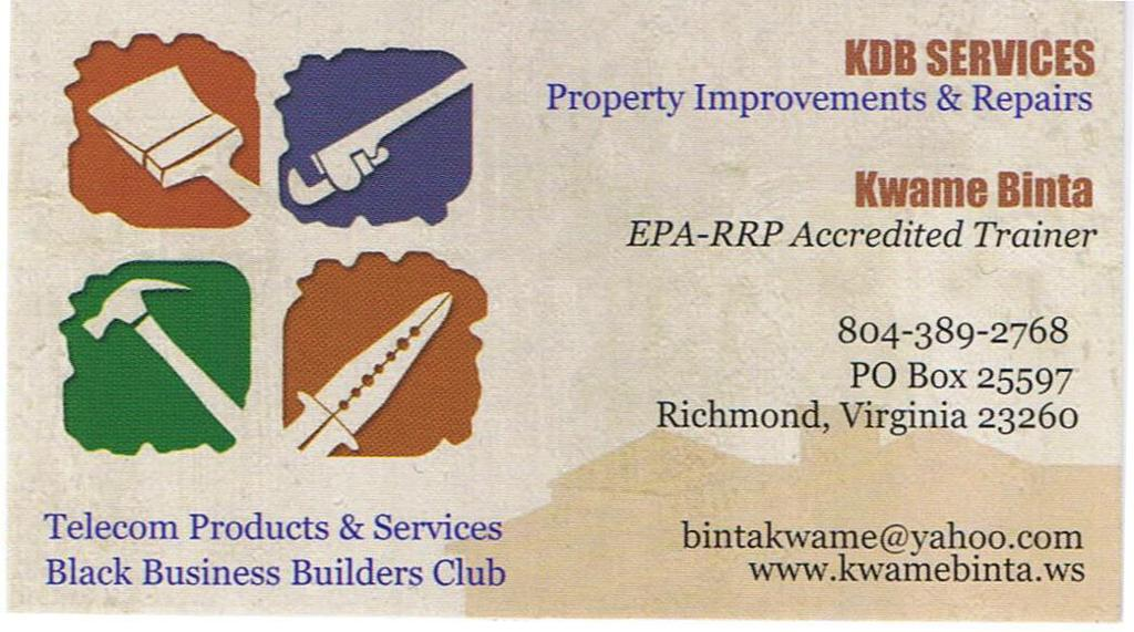 Kdb service business card from kdb services in richmond for Business cards richmond va