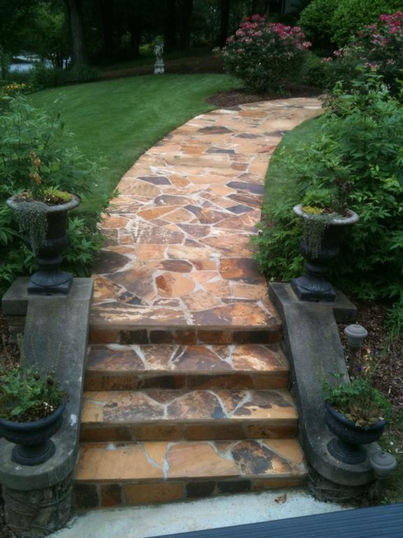 Stone Walkway And Steps By ARNOLD Masonry Concrete